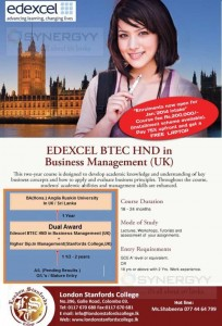 EDEXCEL BTEC HND in Business Management (UK) from London stanfords College