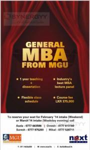 MGU MBA in Sri Lanka - 2014