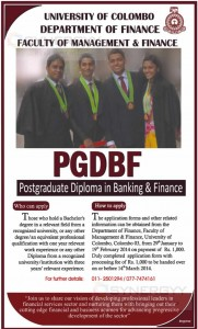 Postgraduate Diploma in Banking & Finance of University of Colombo - Applications calls till 14th March 2014
