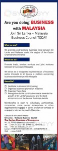 Are you doing Business with Malaysia Join Sri Lanka - Malaysia Business Council Today