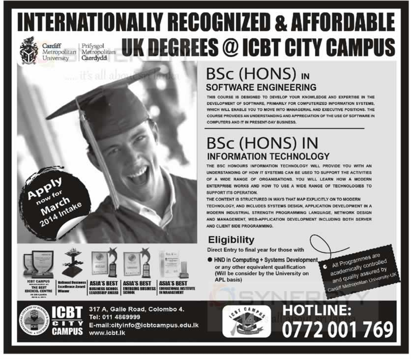 ICBT Bachelor Degree Programmes – March 2014 Intakes
