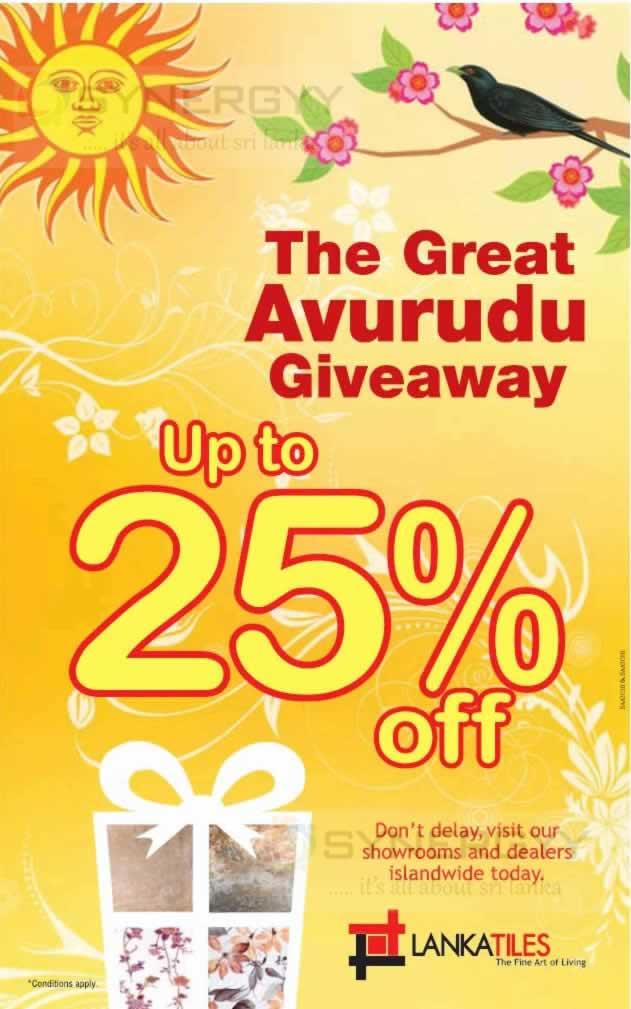 Lanka Tile Avurudu Promotion   Discounts upto 25. Lanka Tile Avurudu Promotion   Discounts upto 25    SynergyY