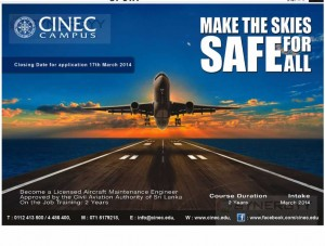 Licensed Aircraft Maintenance Engineer in Srilanka from CINEC Campus