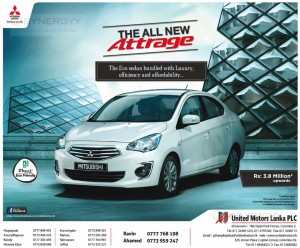 Mitsubishi Attrage price in Sri Lanka – Rs. 3.8 Million Upwards - March 2014