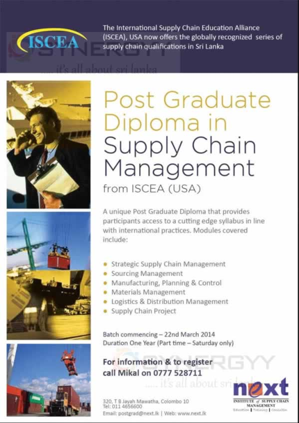 Post Graduate Diploma in Supply Chain Management from ISCEA