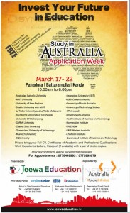 Study in Australia – Free Consulting by Jeewa Education; 17 to 22 March 2014