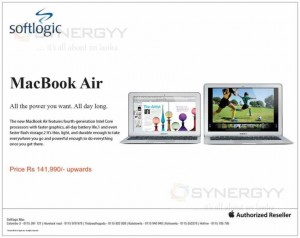 Apple MacBook Air Price in Srilanka – Rs. 141,990.00 Upwards