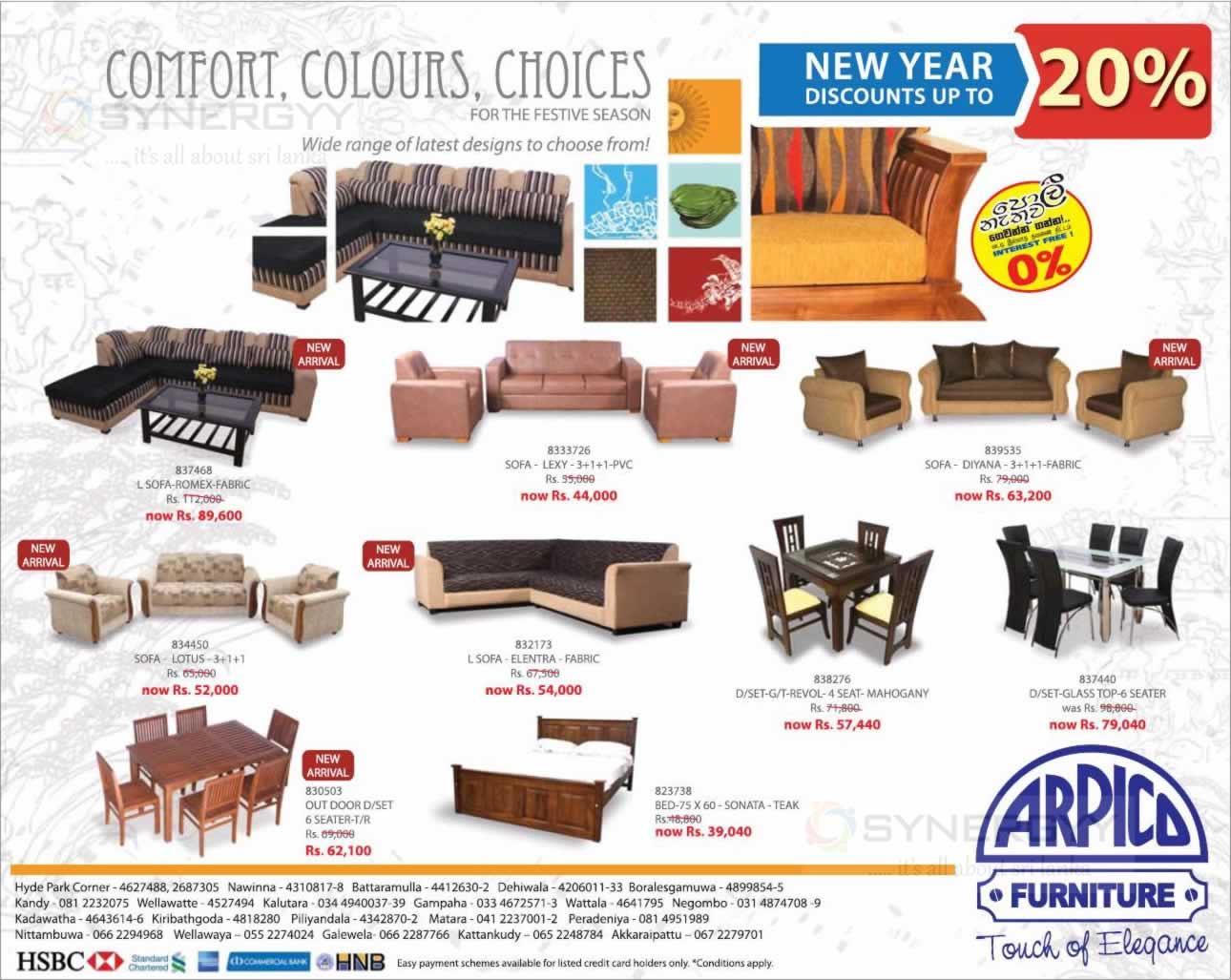 arpico furniture new year sales discounts upto 20 till april 2014 synergyy