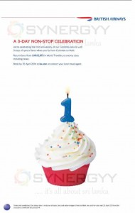 British Airways Anniversary Promotion to Male – From 23rd to 25th April 2014