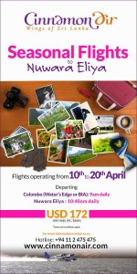 Cinnamon Air Seasonal Flights to Nuwara Elia – April 10th to 20th from Colombo (water's Edge or BIA) to Nuwara Elia