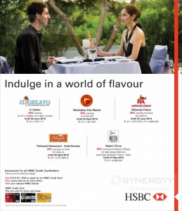 Dine in Promotions for HSBC Credit Card – Till 30th June 2014