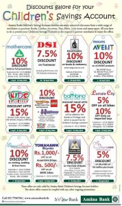 Discounts galore for your Children's Savings Account at Amana Bank -April 2014 Promotions and Offers