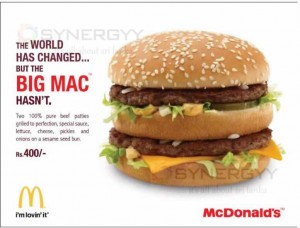 Mc Donald's Big Mac Prices in Sri Lanka – Rs. 400.00 Only