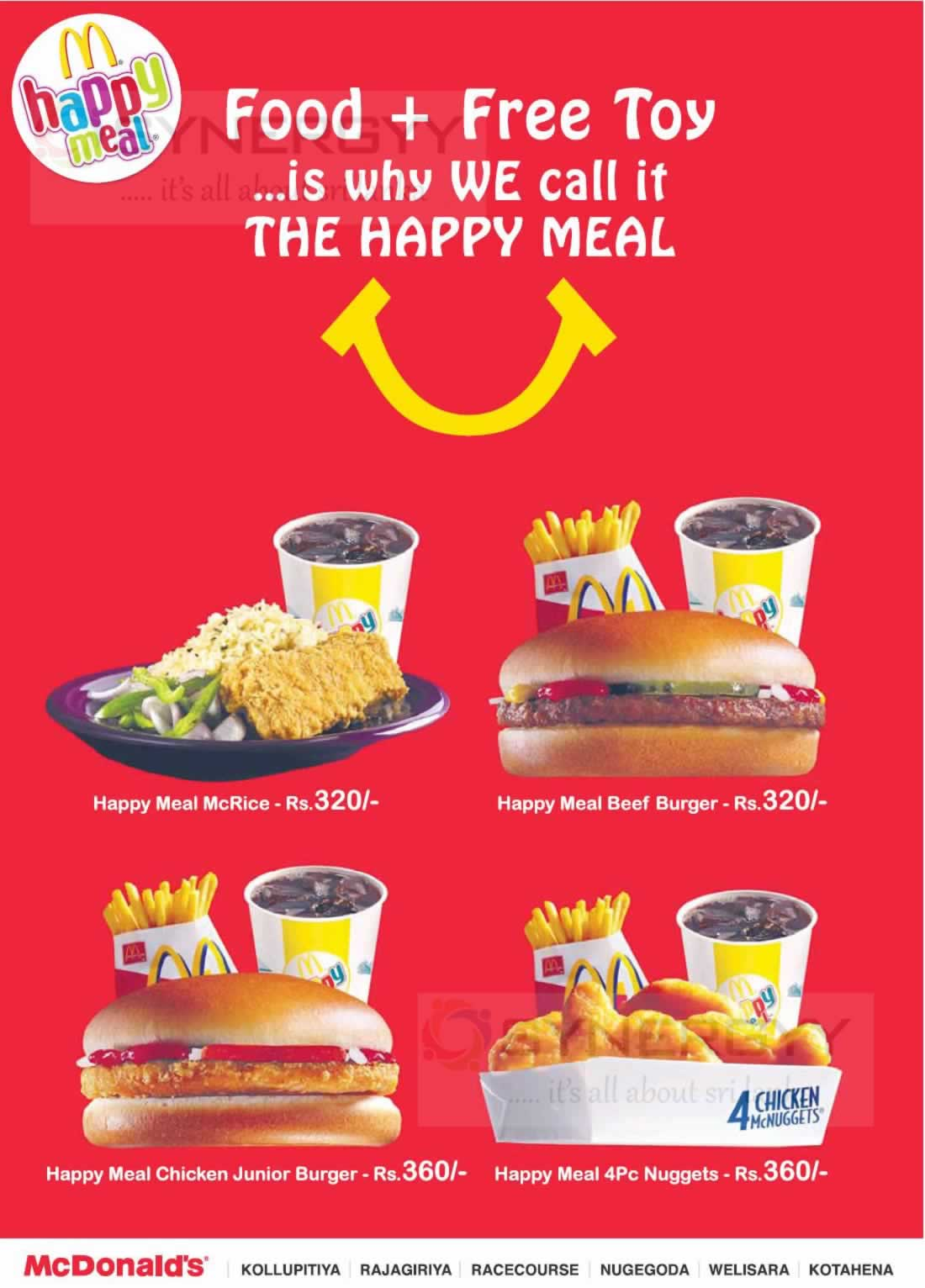 Mcdonalds Happy Meal Food Free Toy In Srilanka Synergyy