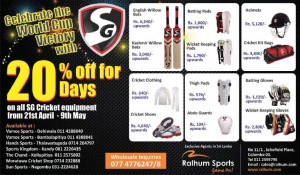 SG Cricket equipment Discounts upto 20% from 21st April - 9th May 2014 at Ralhum Sports