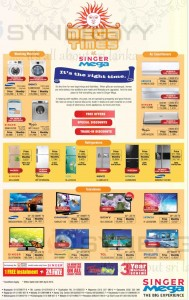 Singer Mega Washing Machines, Refrigerators, Air Conditioners and Televisions Prices – April 2014