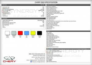 Chery QQ3 Cars now available in Srilanka for Rs. 1,875,000.00 Specifications attached below