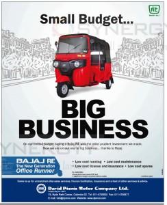David Pieris Bajaj Three Wheel Prices in Srilanka – Rs. 481,040.00 All Inclusive – June 2014