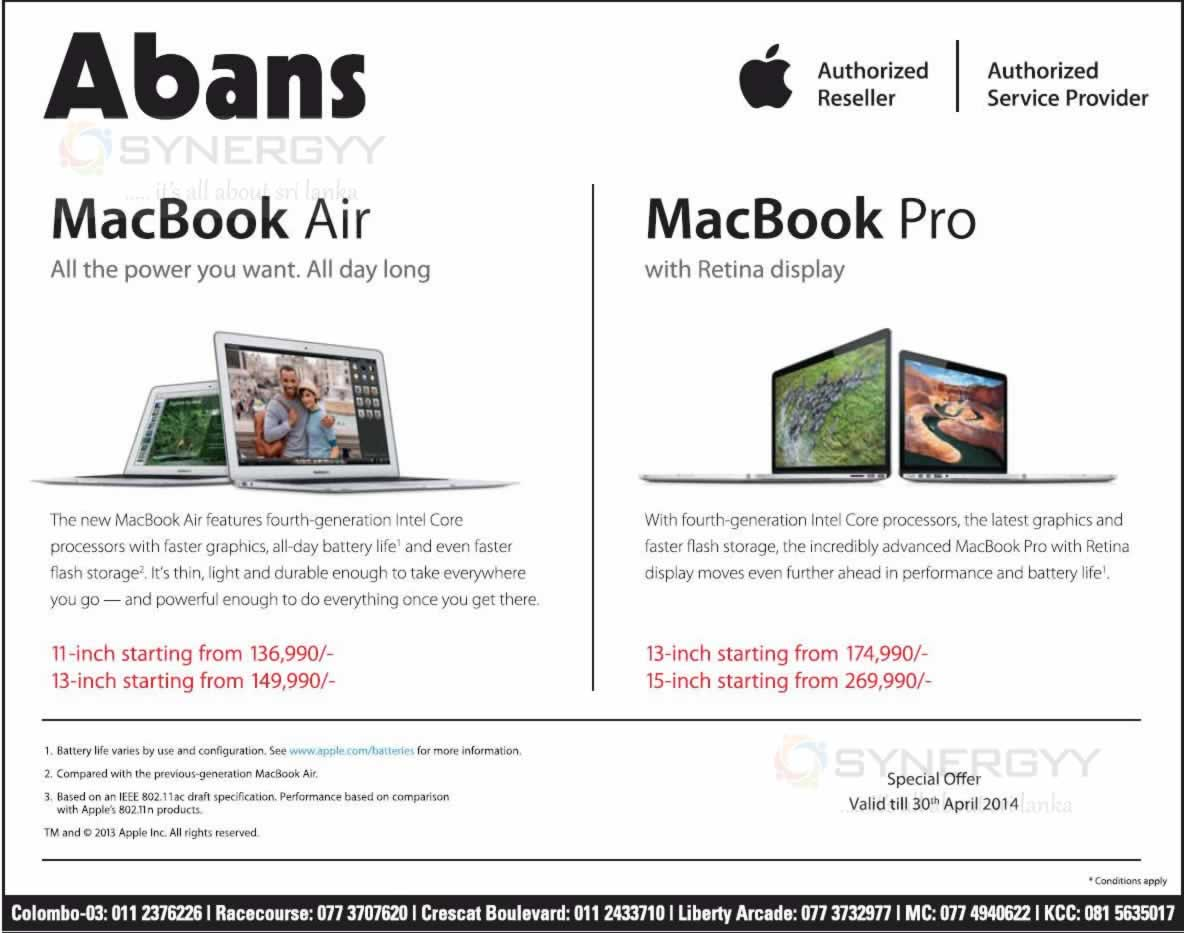 Macbook Air And Macbook Pro Prices In Srilanka Abans