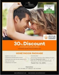 30% Discount for Sampath Bank Credit card at Melheim Resorts
