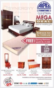 Arpico Furniture Mega Deal – Discounts Upto 15% till 30th June 2014