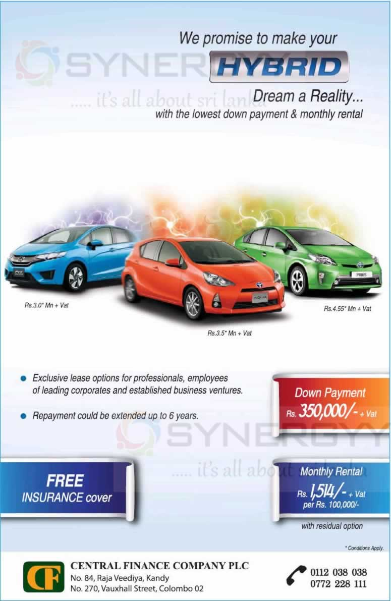 Central finance leasing for hybrid cars in srilanka synergyy for Honda motor finance payoff phone number