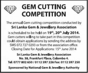 Gem cutting competition on 19th to 20th July 2014
