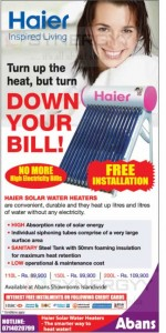 Haier Solar Water Heater for Rs. 89,900 upwards