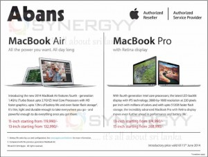 MacBook Air 2014 and MacBook Pro Introductory Price from Abans - Prices are valid till 15th June 2014