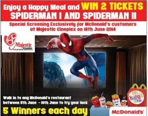 Enjoy a Happy Meal at McDonalds and Win 2 Tickets Spiderman I and Spiderman II – From 5th June to 10th June 2014