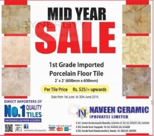 Naveen Ceramic Porcelain Floor Tile midyear Sale – till 30th June 2014
