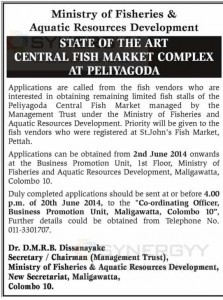 New Fish Market Shops are for Sale by Ministry of Fisheries & Aquatic Resources Development
