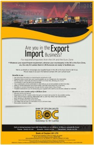 Bank of Ceylon UK Branch services for Exporters/ Importers from the UK and the Euro Zone