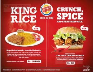 Burger King Srilanka Menu