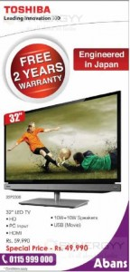 Toshiba LED TV for Rs. 49,990.00 from Abans