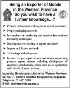 Know your Rules and Regulations as an Exporters Located in Western Province