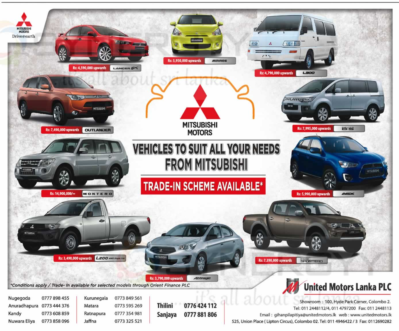 Mitsubishi Brand New car, Van and SUV Prices in Srilanka – Updated