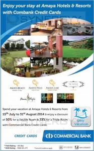 Upto 50% Discounts at Amaya Hotels & Resorts from 15th to 31st August for Commercial Bank Credit Card