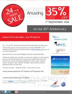 35% Off at Sri Lankan Airline to any Destination Only on 1st September 2014