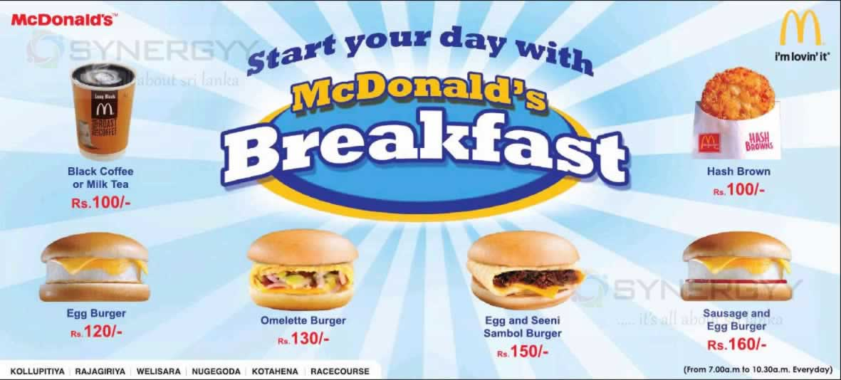 Mcdonalds Breakfast Menu In Sri Lanka 171 Synergyy