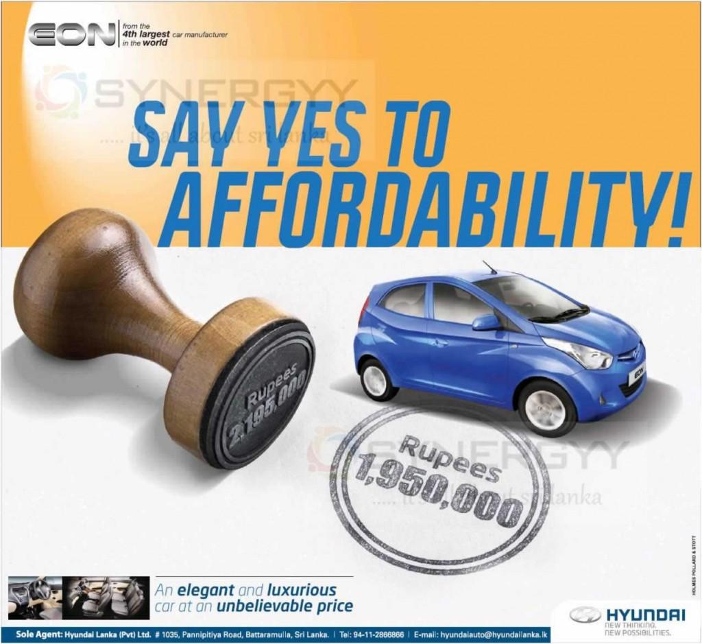 Hyundai Eon Price in Sri Lanka – Rs. 1,950,000.00 – November 2014