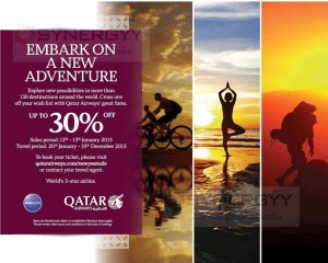30% off for the Qatar Airways Booking- last day offer