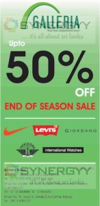 50% off at GALLERIA - End of Season Saleq
