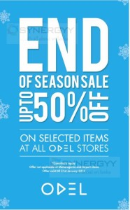 50% off at ODEL - end of seasonal sale until 21st January 2015