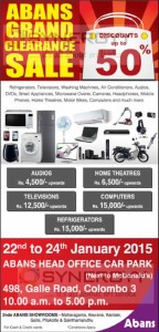 Abans Grand Clearance Sale Discounts upto 50% -   22nd to 24th January 2015