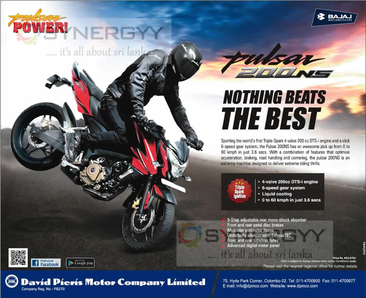 Bajaj Pulsar 200 Ns Price Is Rs 443 970 00 In Sri Lanka