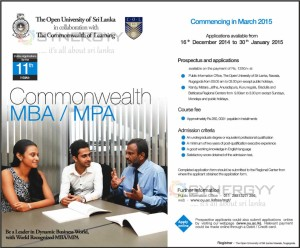 Commonwealth MBA  MPA from The Open University of Sri Lanka – Application Calls now until 30th January 2015