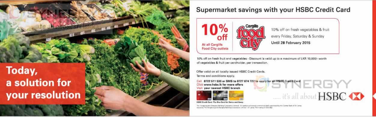 Enjoy 10% off at Cargills Food City for HSBC Credit Card