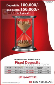 Highest Fixed Deposits Interest Rate in Sri Lanka from Pan Asian Bank
