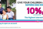 Highest Interest rate for Children Account from Nations Trust Bank (10% p.a)